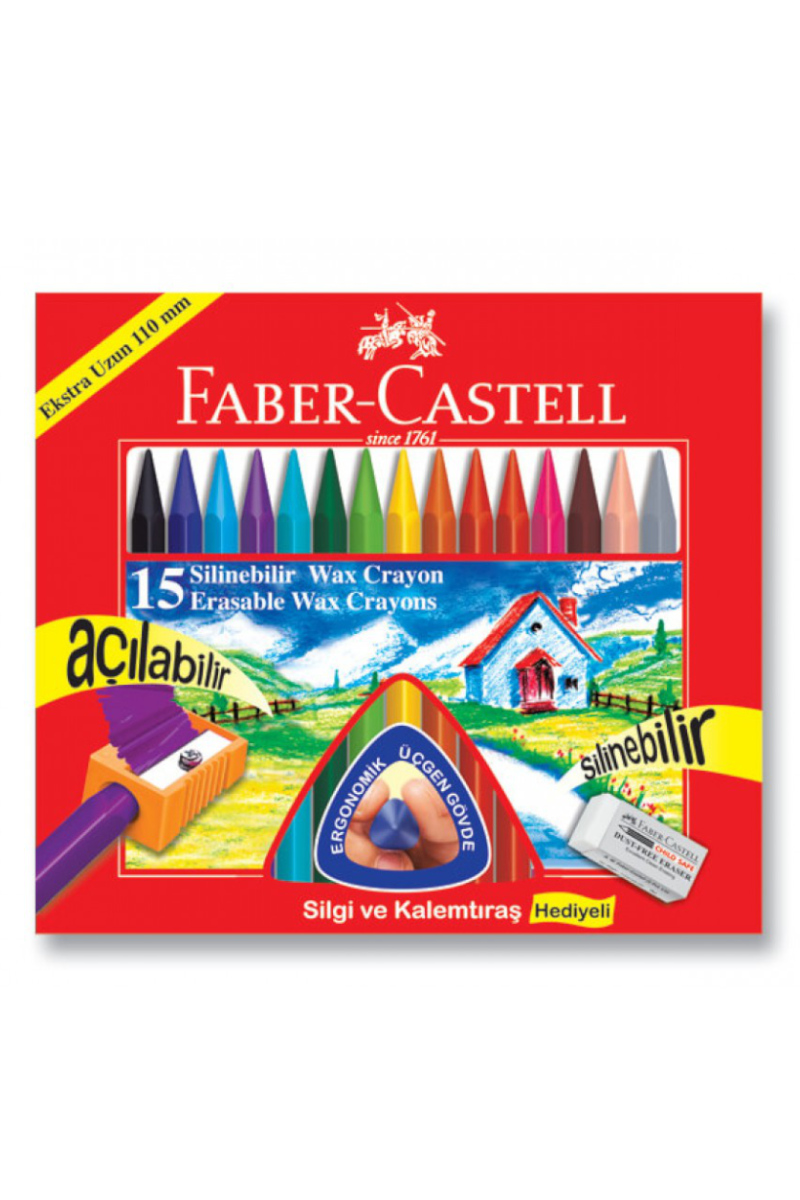 Faber Castell Pastel Boya 15 Renk Silinebilir Wax