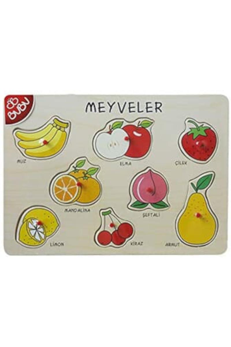 Bub Bu Ahşap Puzzle Meyveler 8 Cm
