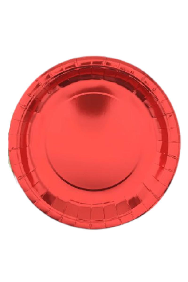 Metalize Kırmızı Tabak 23cm 8 Adet