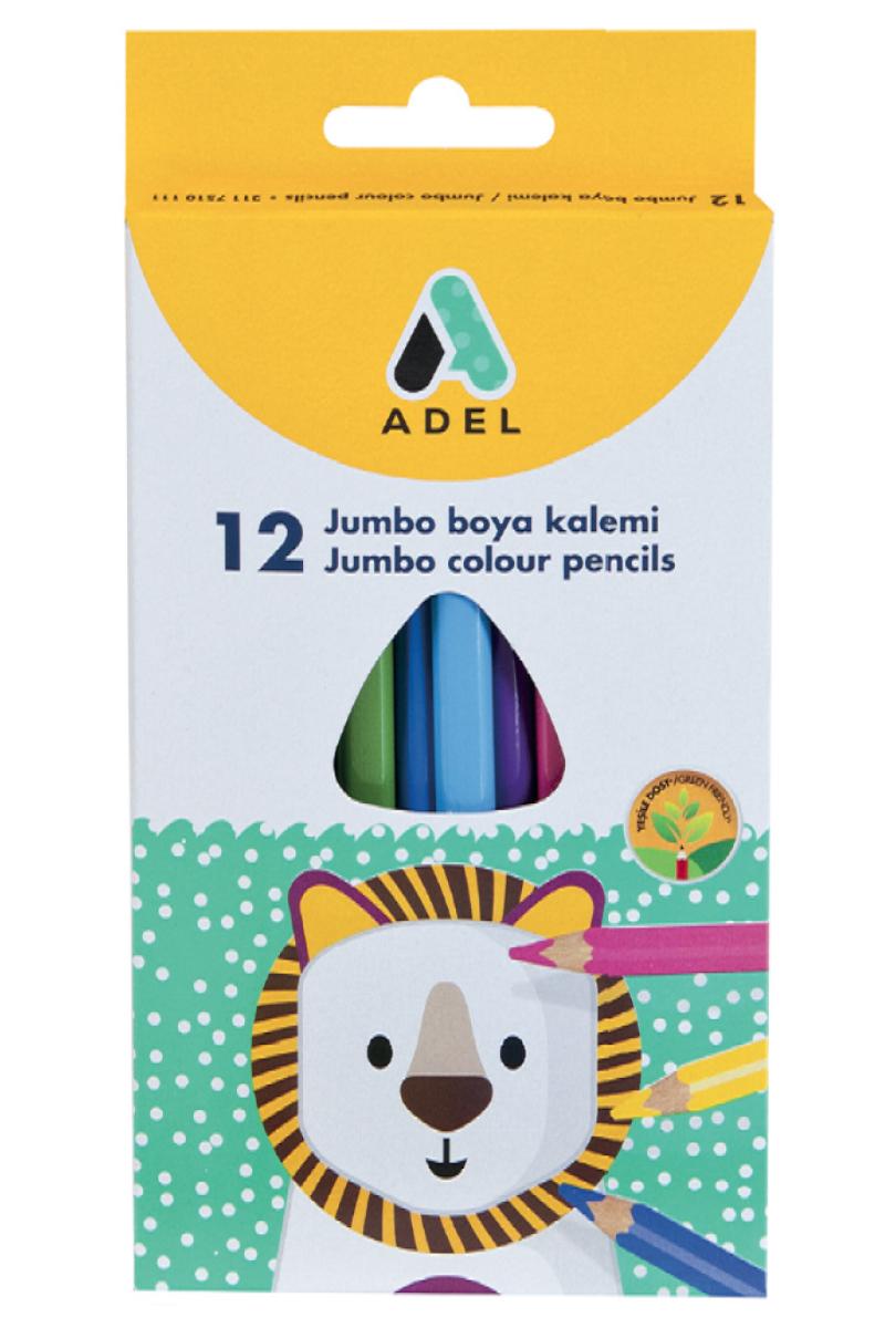 Adel Jumbo Üçgen Boya Kalemi 12 Renk Tam Boy