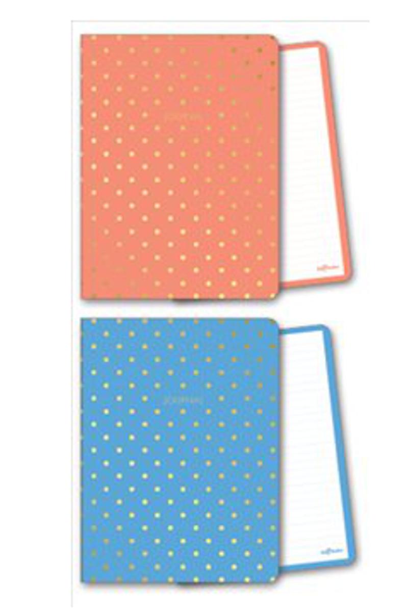 Le Color Shine Mavi/Mercan Çizgili Defter 14x20 128 Yaprak