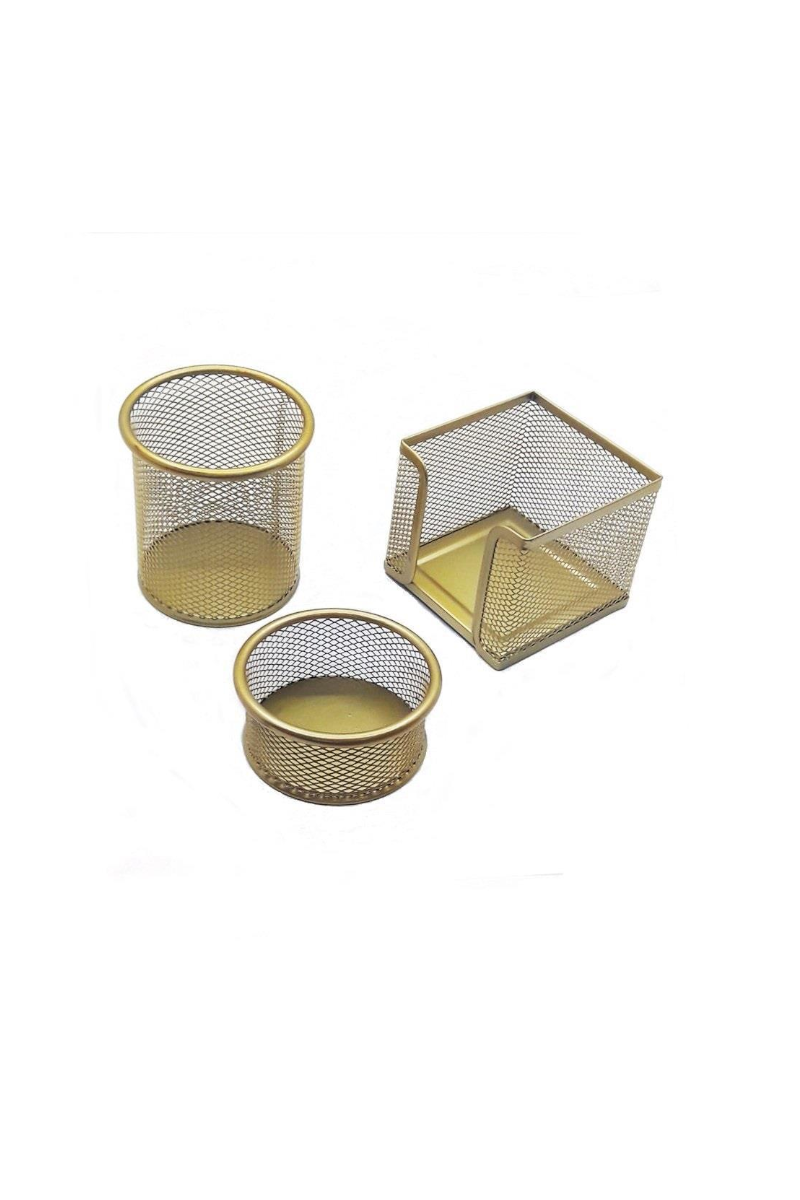 Mas 505 Perfore Üçlü Set Gold  (Kalemlik,Ataşlık,Küp Blok)