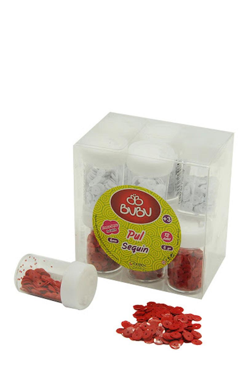 BU-BU Pul Kırmızı Beyaz  6 gr 12'li PVC