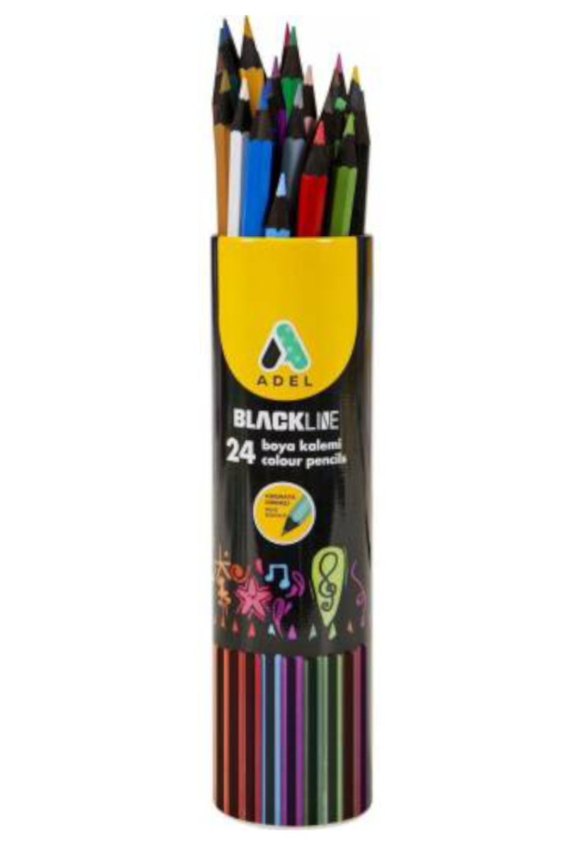 Adel Blackline Metal Tüp 12 Renk Tam Boy Boya Kalemi