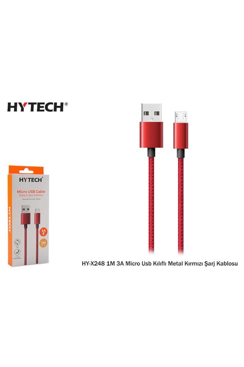 HYTECH 1m Metal Kırmızı Kılıflı Usb Şarj Kablosu