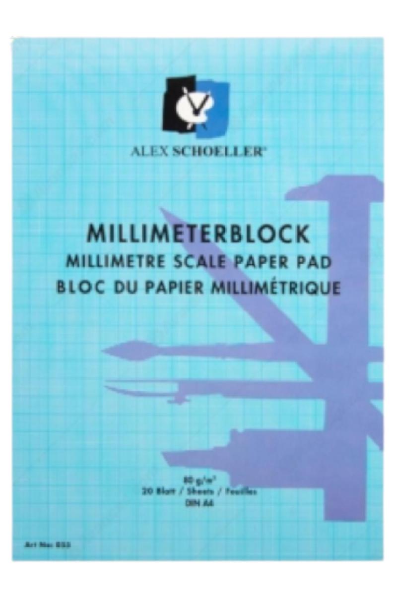 Alex Schoeller Milimetrik Blok A4 80gr 20 yaprak Mavi
