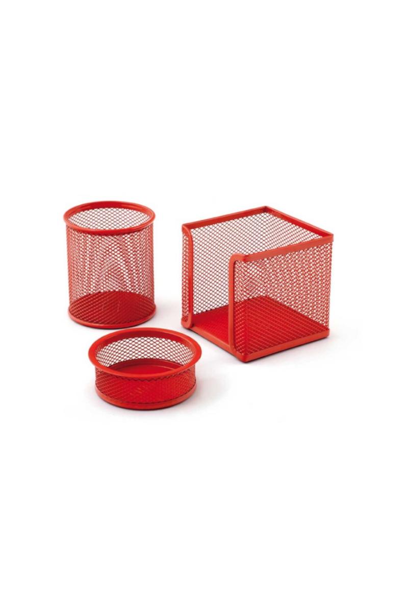 Mas 505 Perfore Üçlü Set Kırmızı (Kalemlik Ataşlık Küp Blok)