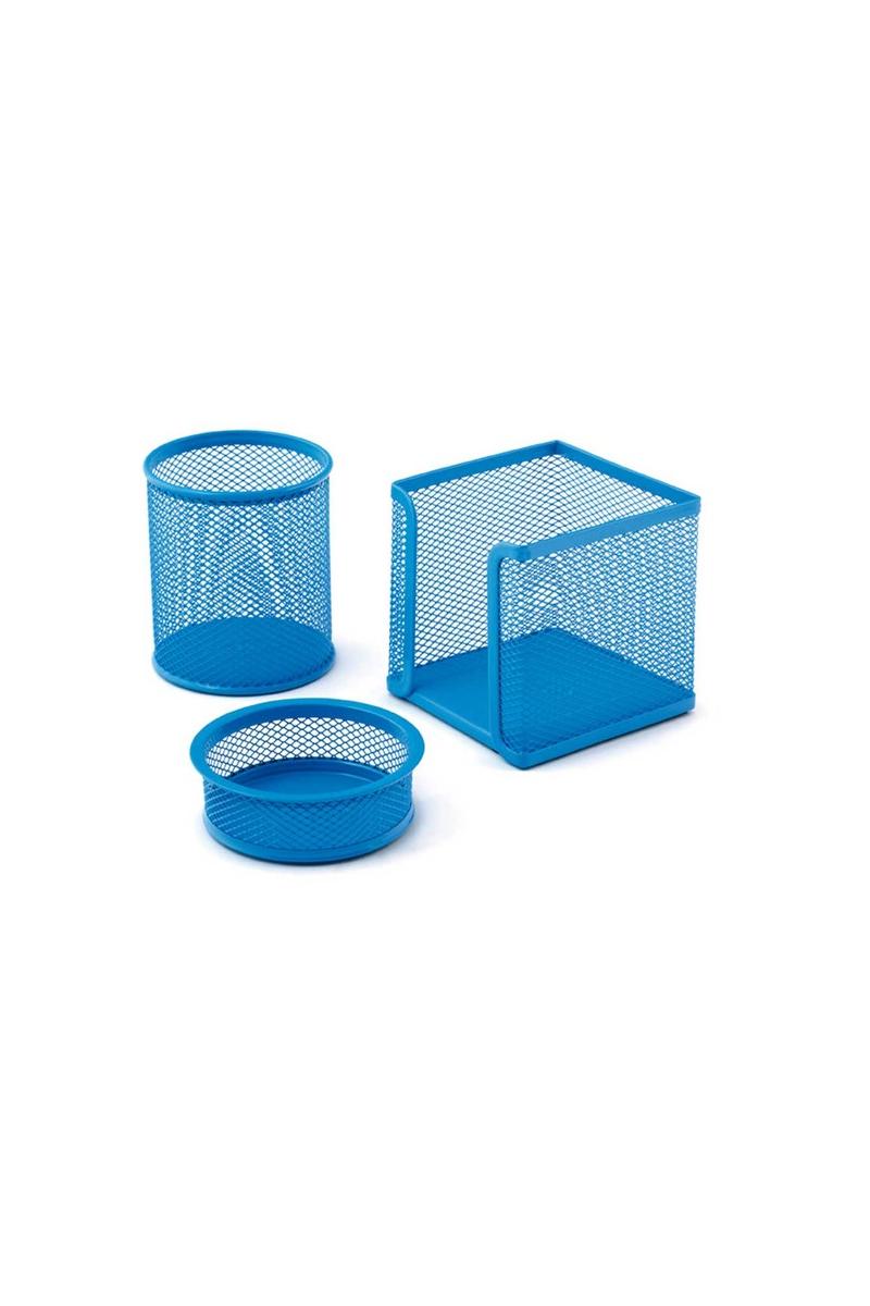 Mas 505 Perfore Üçlü Set Mavi (Kalemlik,Ataşlık,Küp Blok)