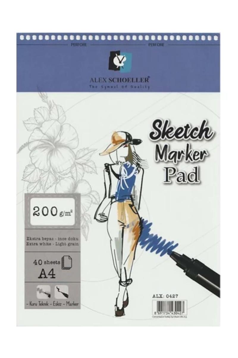 Alex Schoeller Spiralli Sketch Marker Pad 200gr A4 40 Yaprak