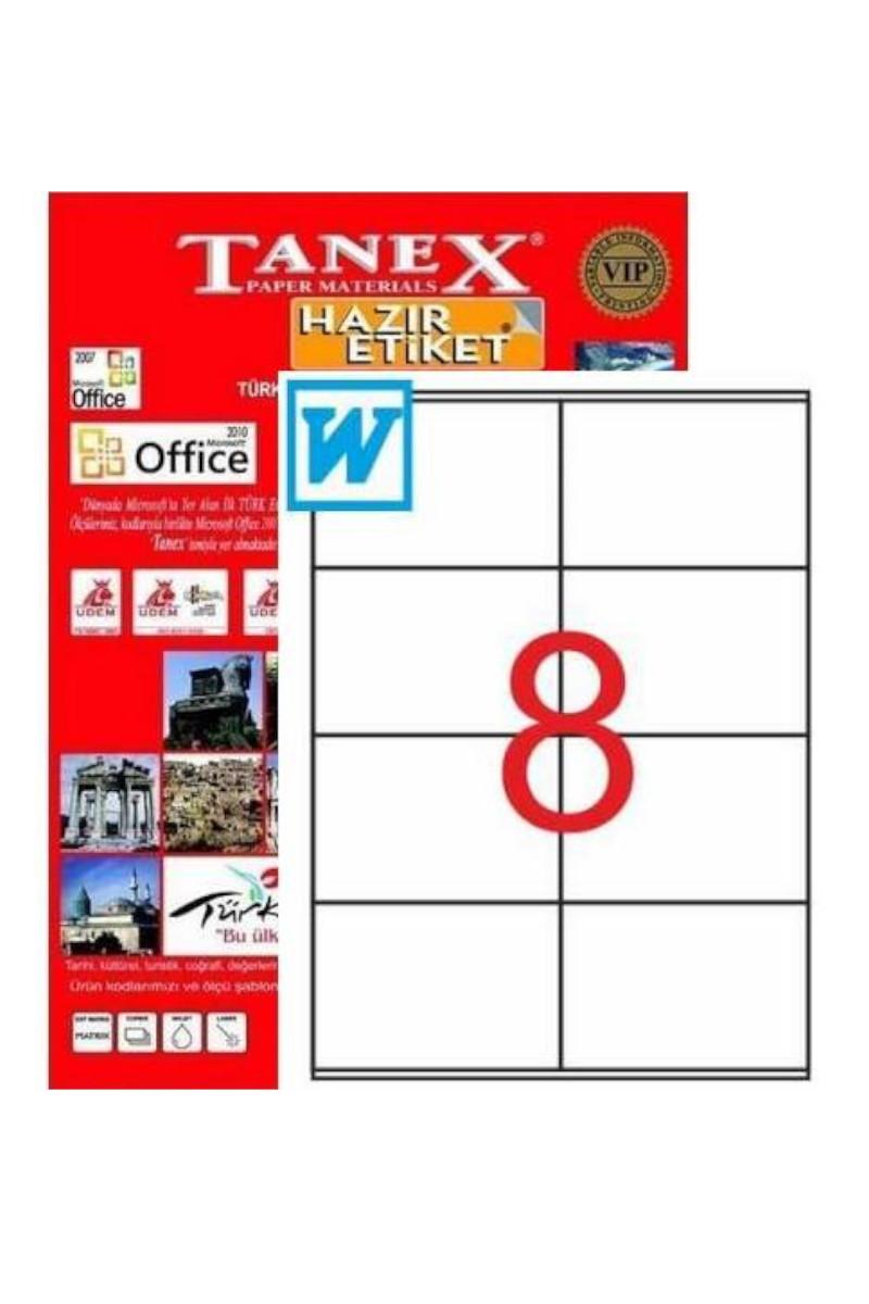 Tanex TW-2374 105mmX7425mm Lazer Etiket 100 Tabaka