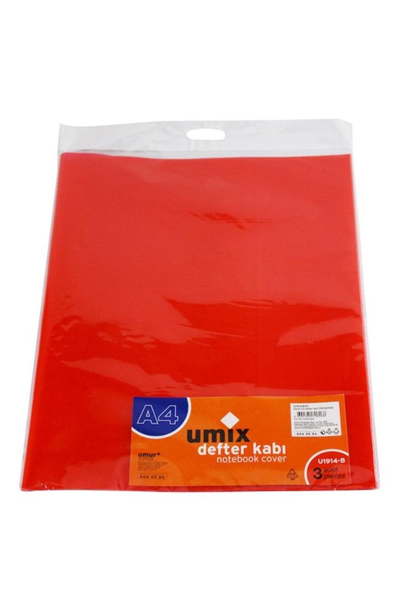 Umix Bantlı A4 Defter Kabı 3lü Kırmızı