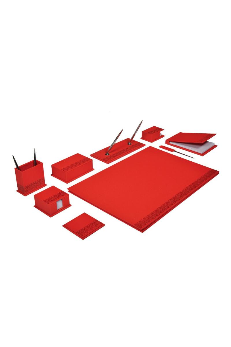 Gıpta 7605 Denım 10 Parça Sümen Takımı - Kırmızı