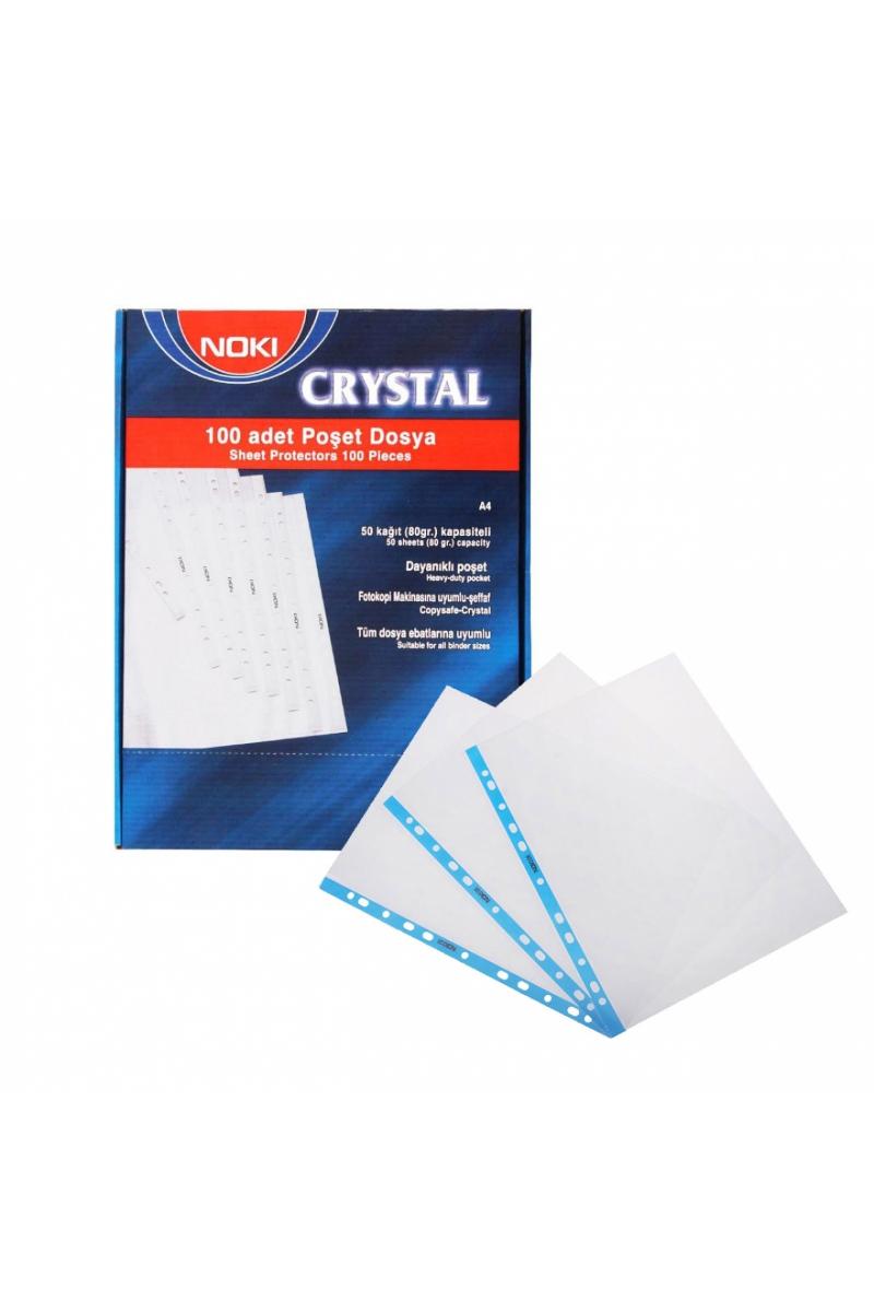 Noki 4830CR Poşet Dosya Kristal Mavi Şeritli 100'lü