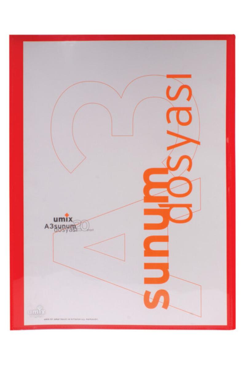 Umıx Standart Sunum Dosyası A3 20li Kırmızı U120a3-Kı