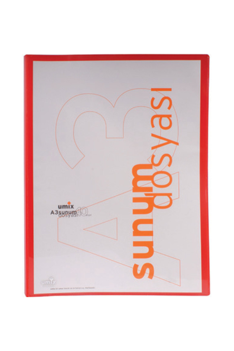 Umix Standart Sunum Dosyası A3 40lı Kırmızı