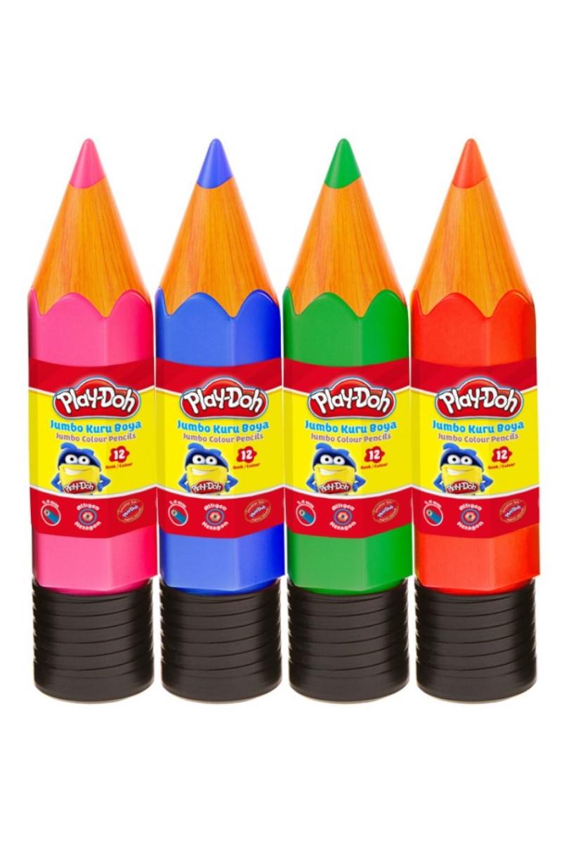 Play-Doh Jumbo Kuru Boya 12 Renk Plastik Tüp