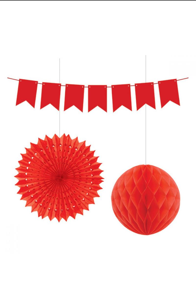 Kağıt Set Süs 3'lü Kırmızı
