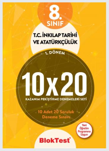 Bloktest 8.Sınıf 1.Dönem T.C. İnkilap Tarihi ve Atatürkçülük 10x20 Kazanım Pekiştirme Denemeleri Seti