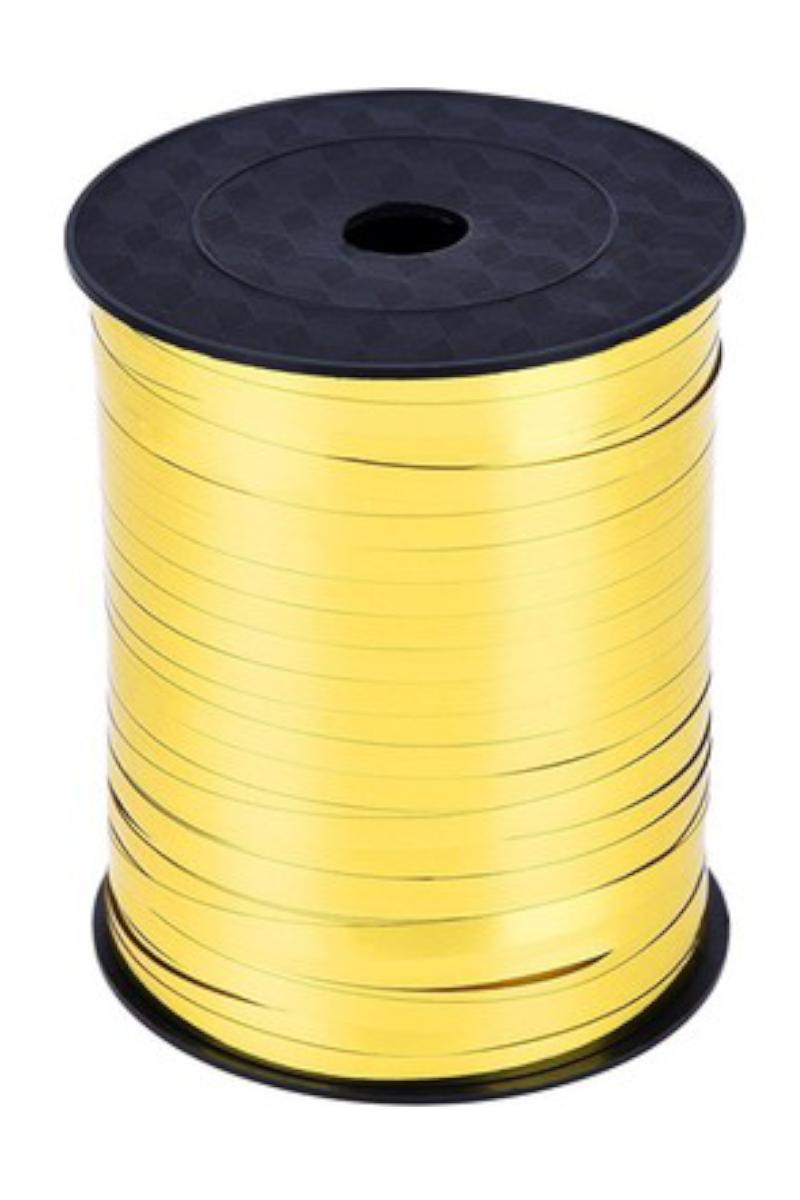 Kika Düz Rafya Şerit 8mm 200 Mt. Parlak Metalik Gold