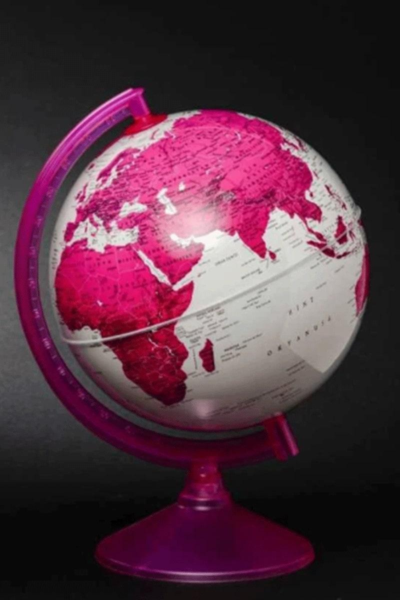 Gürbüz Yay. Işıklı Globe Küre Magenta 26 Cm