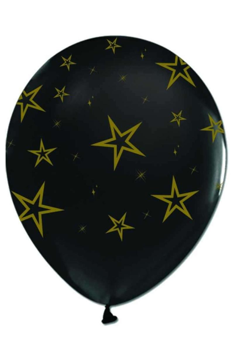 Gold Yıldız Baskılı Siyah Balon 14'lü