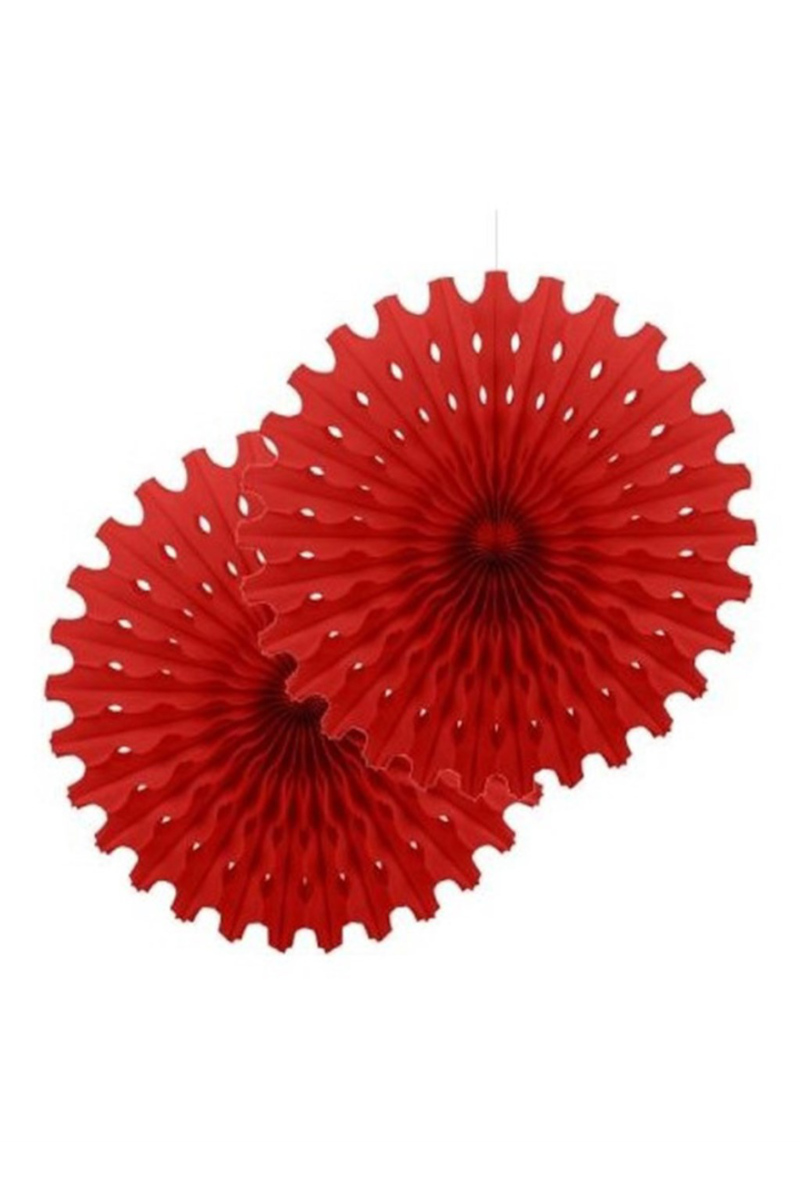Yelpaze Kağıt Süs 50cm 2'li Kırmızı