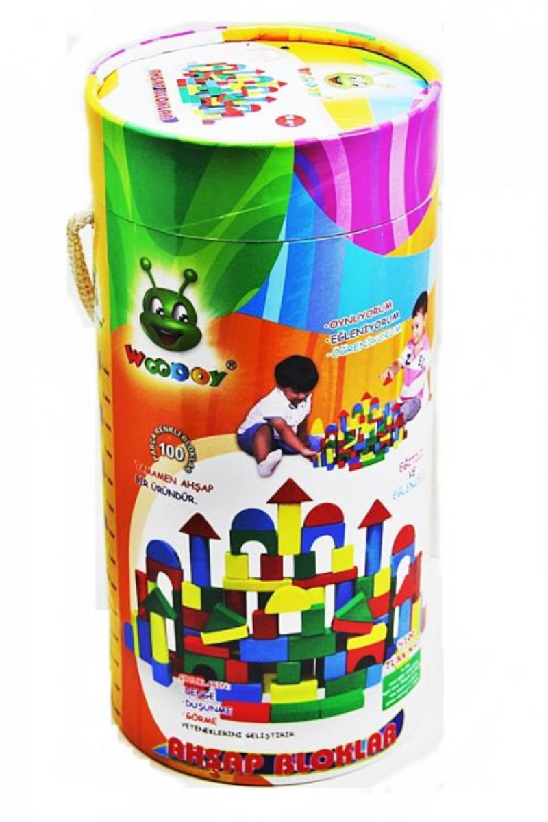 Ahşap 100 Parça Renkli Bloklar