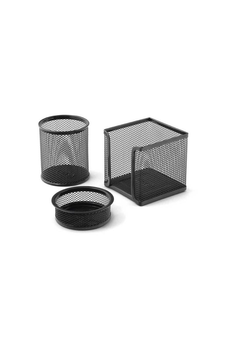 Mas 505 Perfore Üçlü Set Siyah (Kalemlik,Ataşlık,Küp Blok)