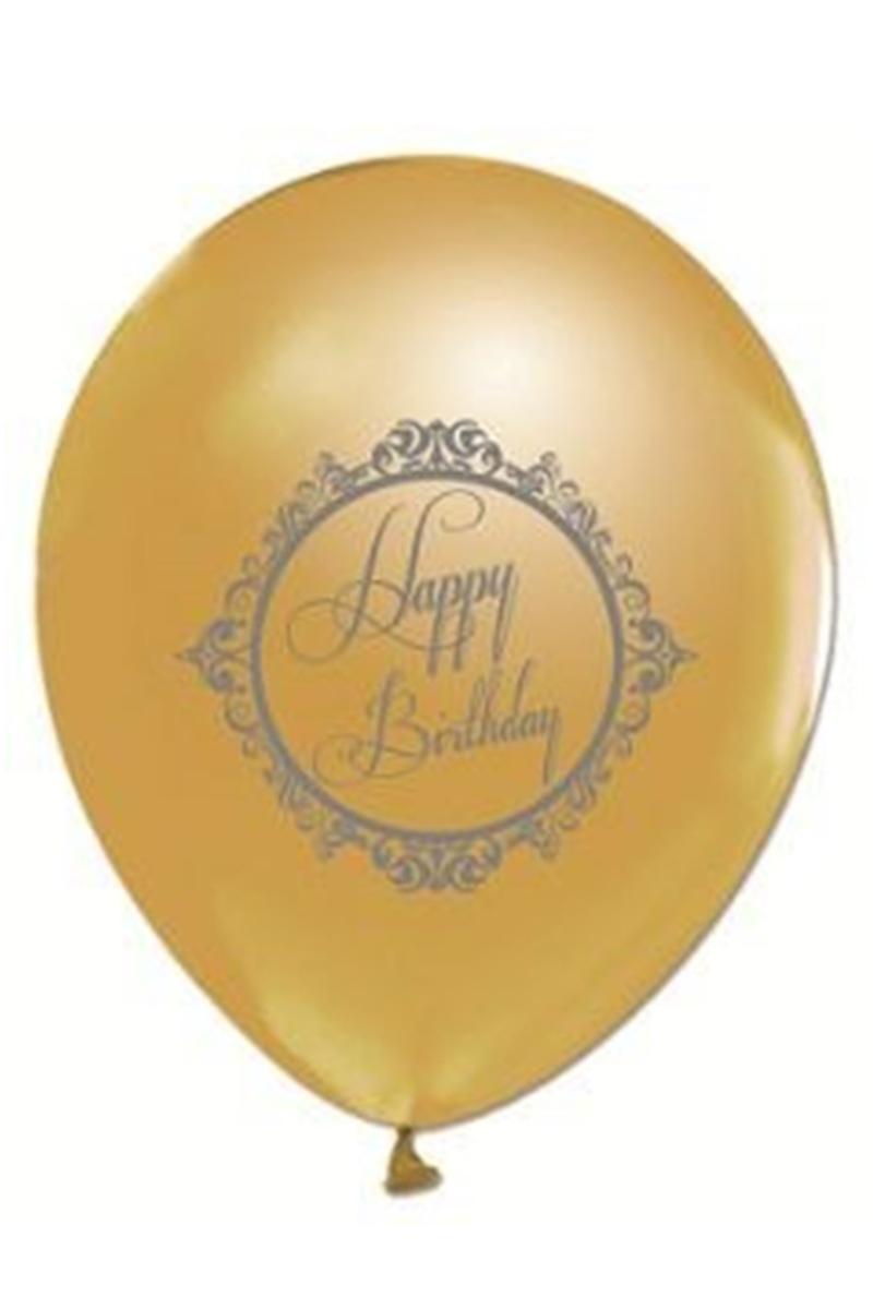 Balonevi 1+1 Gold Elegant Stripe Baskılı Balon 14'lü