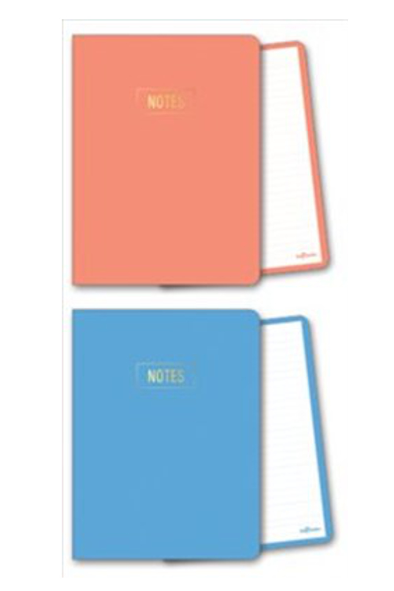 Le Color Notes Mercan/Mavi Çizgili Defter 14x20 128 Yaprak