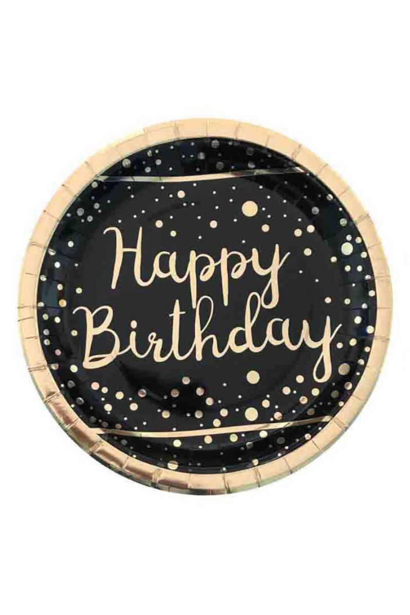 Gold Happy Birthday Varak Baskılı Siyah Tabak 23cm 6'lı