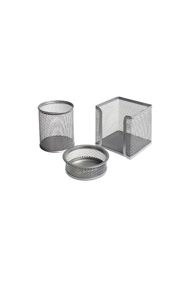 Mas 505 Perfore Üçlü Set Sılver(Kalemlik,Ataşlık,Küp Blok)