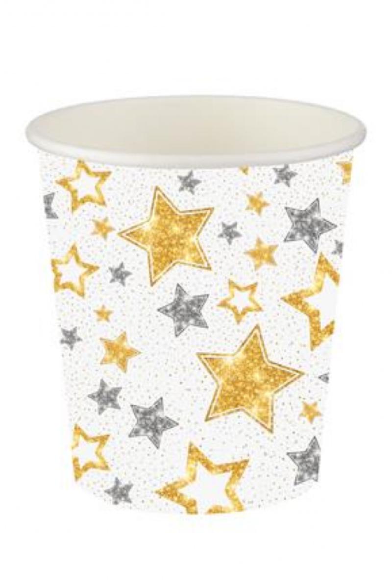 Karton Bardak 8'li Yıldızlar Beyaz