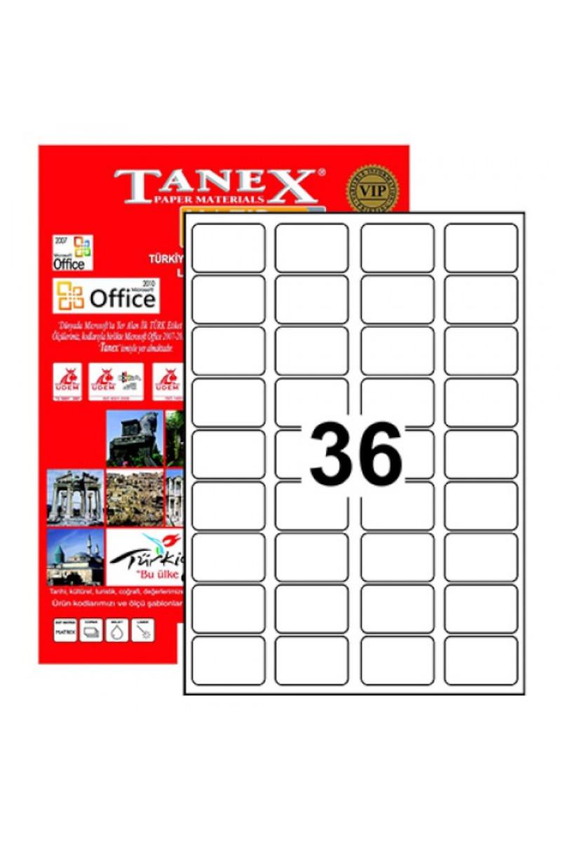 Tanex TW-2036 45mmx30mm Lazer Etiket 100 Tabaka