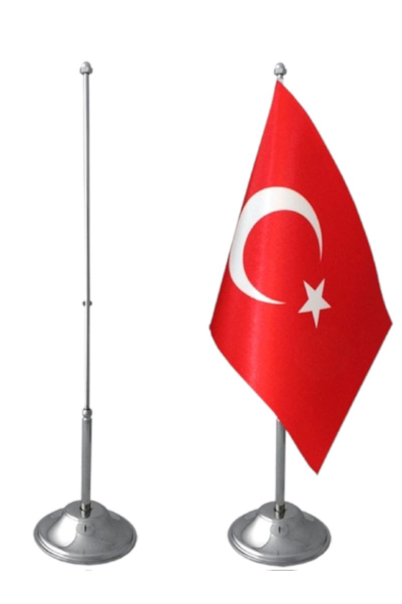 Vatan Bayrak Direği Masaüstü Tekli Krom