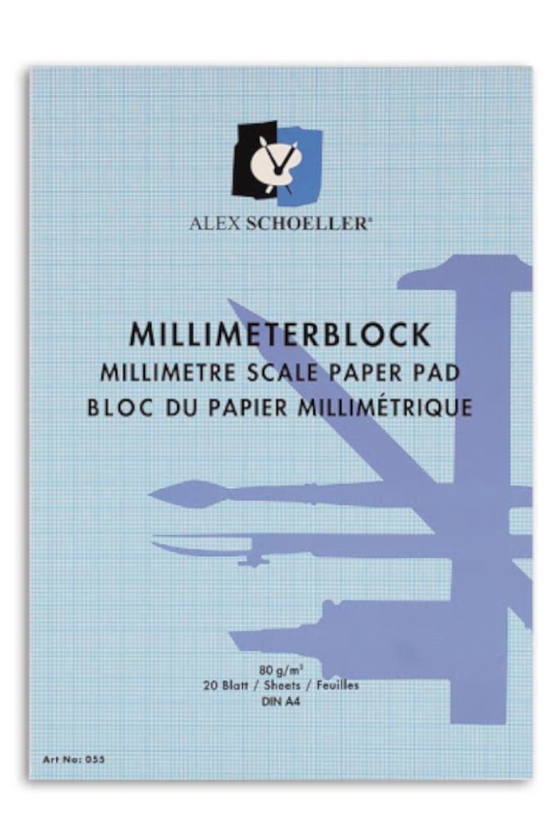 Alex Schoeller Milimetrik Blok A3 80gr 20 yaprak Mavi
