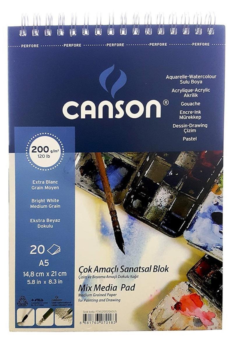 Canson Fıneface Çok Amaçlı Resim Blokları 200 Gr A5 20 Yp