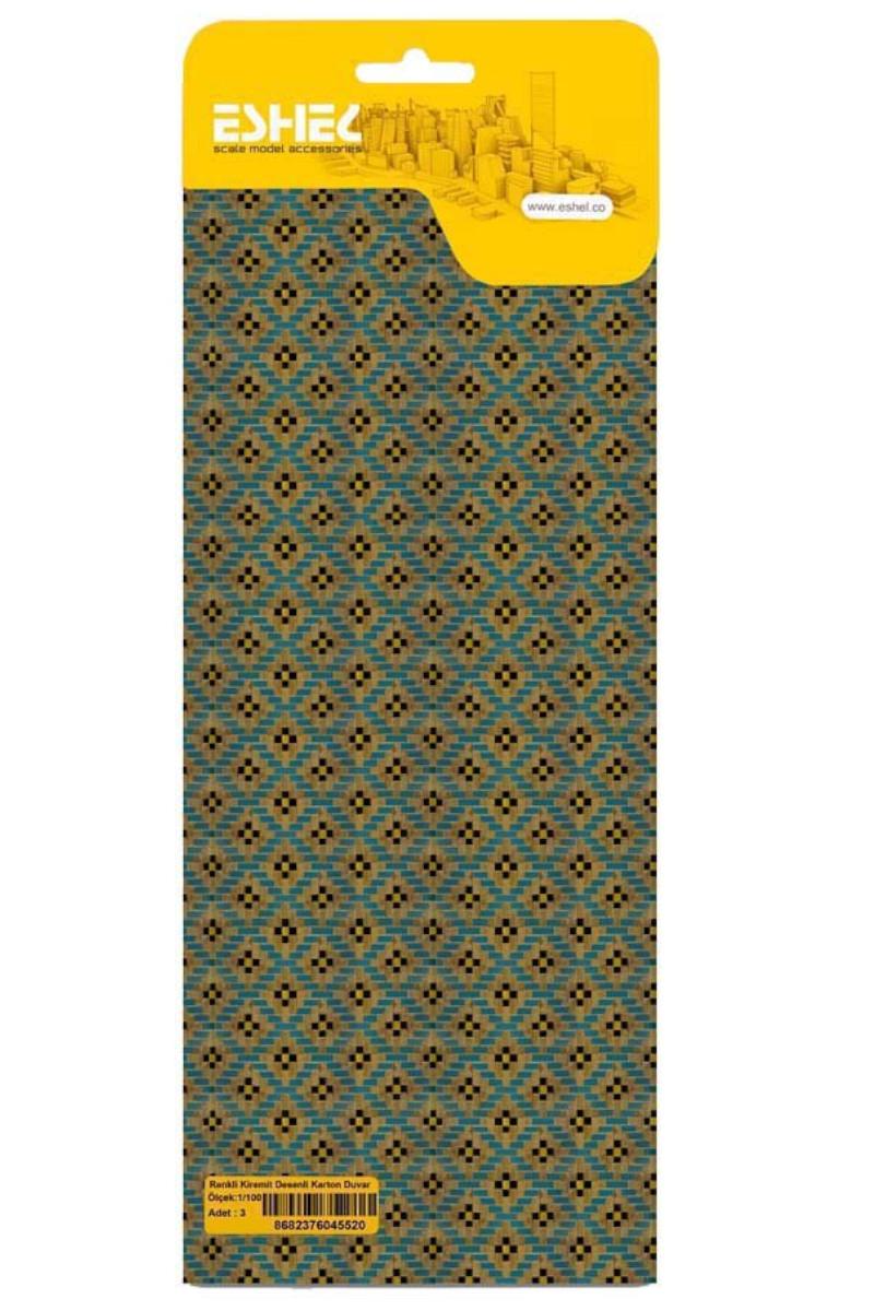 Renkli Kiremit Desenli Karton Duvar 1/100 3lü