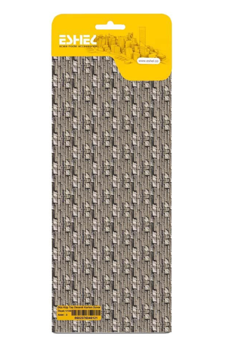 Düz Küp Taş Desenli Karton Duvar 1/100 3lü