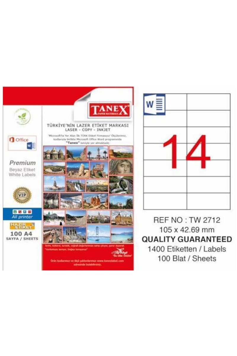Tanex TW-2712 105mm×42.69mm Lazer Etiket 100 Tabaka