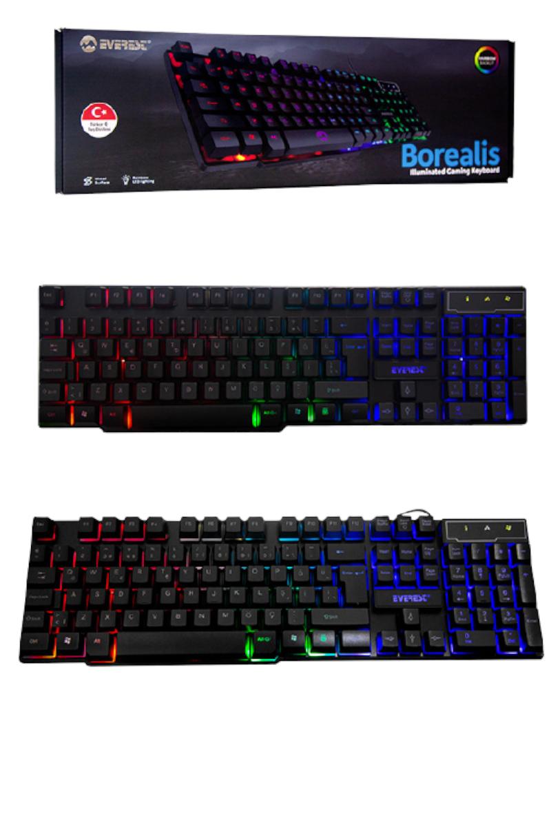 Everest KB-188 Borealis Siyah USB Gökkuşağı Aydınlatmalı Q Gaming Oyuncu Klavyesi