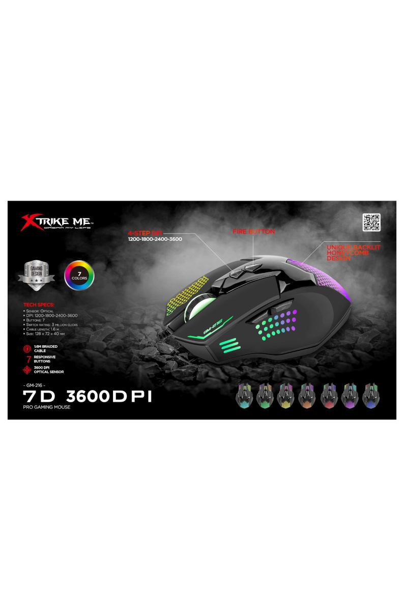 Xtrike Me Gm216 Backlit 3600 Dpı Optik Oyuncu Mouse