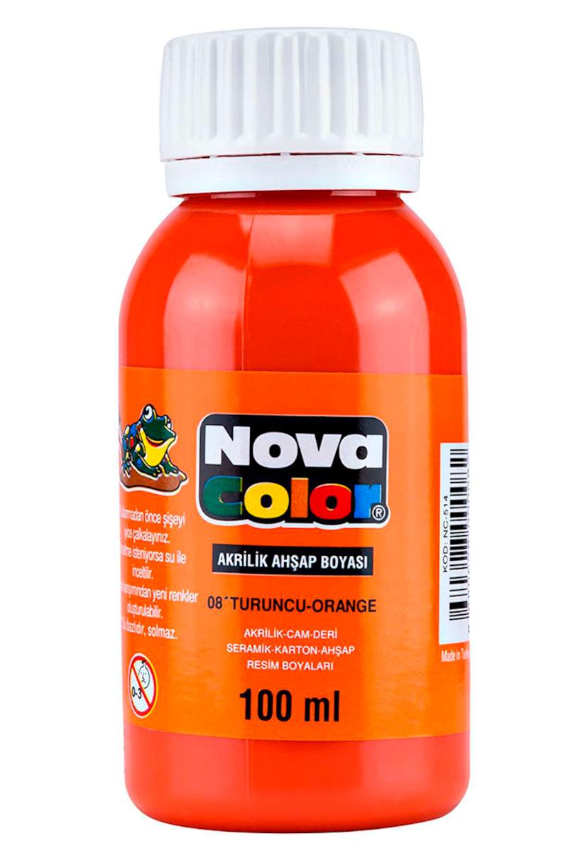 Nova Color Akrilik Ahşap Boya Şişe 100cc Turuncu