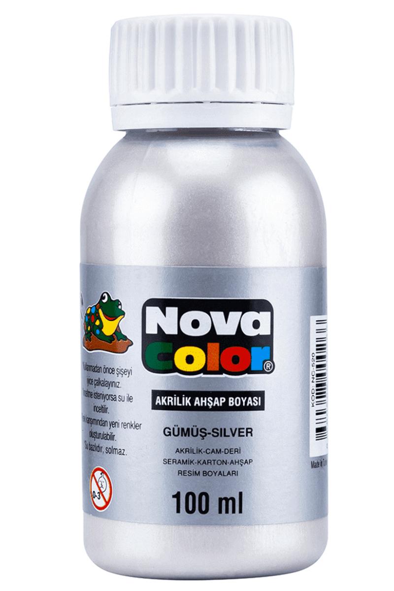 Nova Color Akrilik Ahşap Boya Şişe 100cc Gümüş