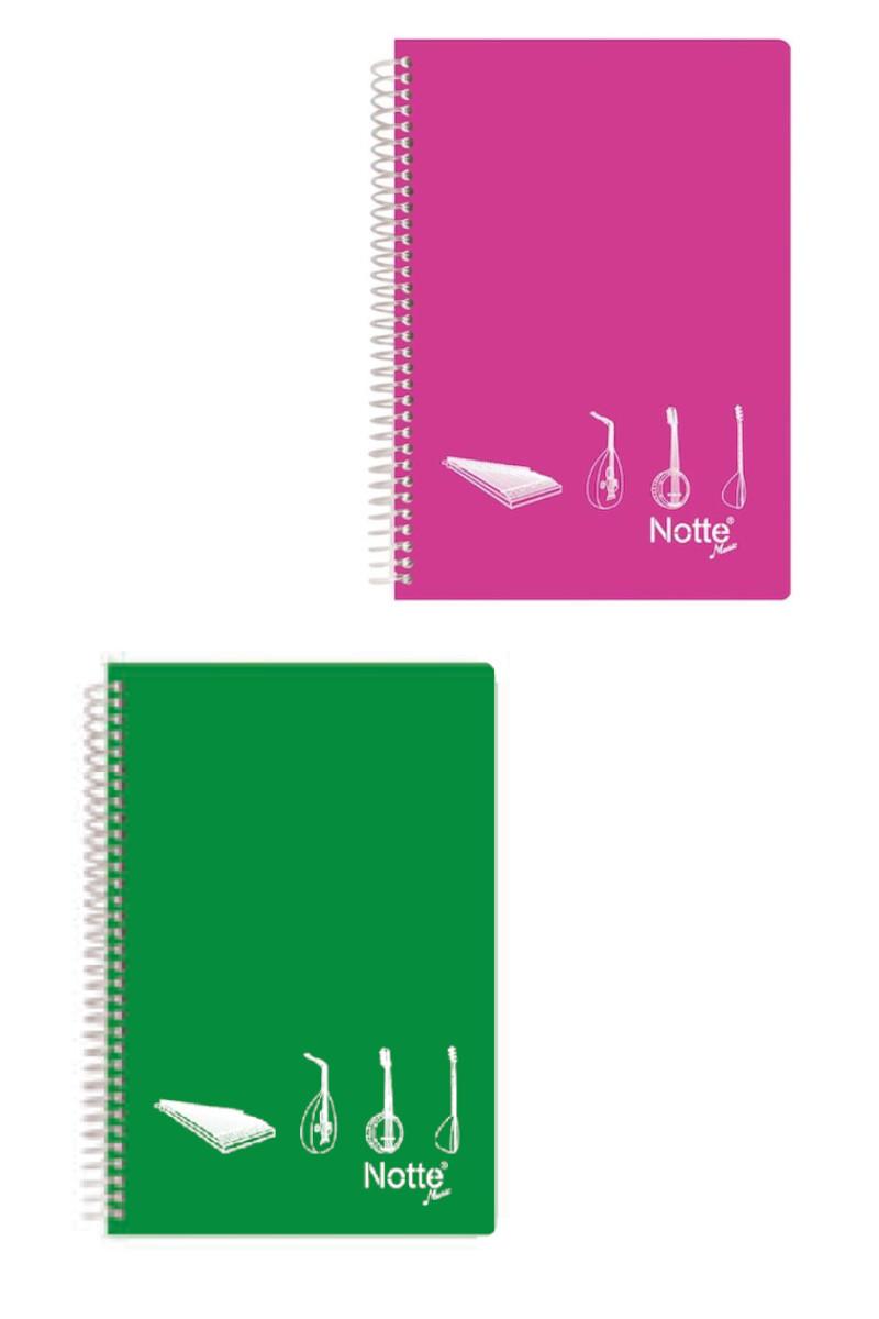 Notte Spiralli Plastik Kapak A4 40 Yaprak Müzik Defteri