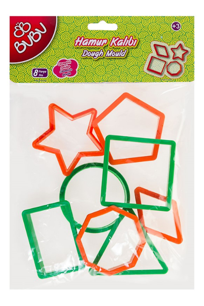 BU-BU Oyun Hamuru Kalıbı Geometrik Şekiller 8 Parçalı